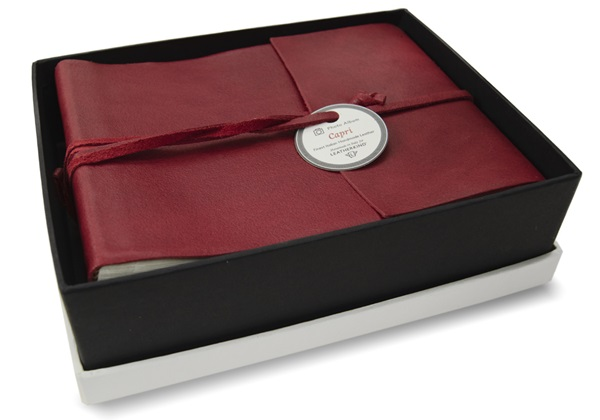 Picture of Capri Handmade Italian Leather Wrap Small Photo Album Firebrick