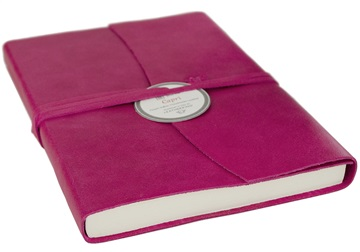 Picture of Capri Handmade Italian Leather Wrap A6 Journal Fuchsia Plain