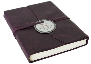 Picture of Capri Handmade Italian Leather Wrap A6 Journal Plum Plain