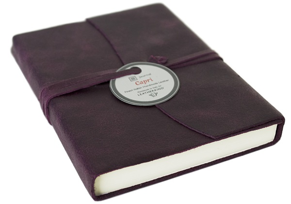 Picture of Capri Handmade Italian Leather Wrap A6 Journal Plum Plain