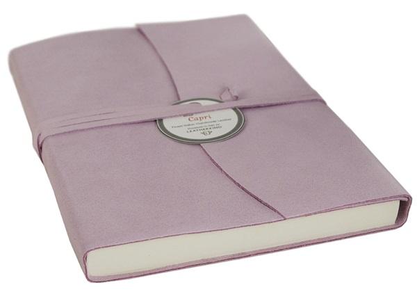Picture of Capri Handmade Italian Leather Wrap A6 Journal Salmon Plain