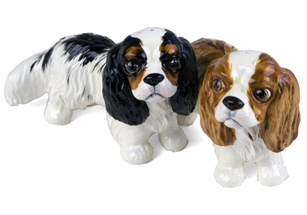 Picture of Cavalier King Charles Handmade Mini Cruet Set Black And Tan