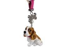Picture of Cavalier King Charles Handmade Mini Key Ring Black and Tan
