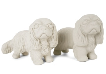 Picture of Cavalier King Charles Handmade Unpainted Ceramics Mini Unpainted Cruet Set Unglazed