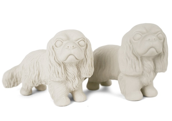 Picture of Cavalier King Charles Handmade Unpainted Ceramics Mini Unpainted Cruet Set Unglazed
