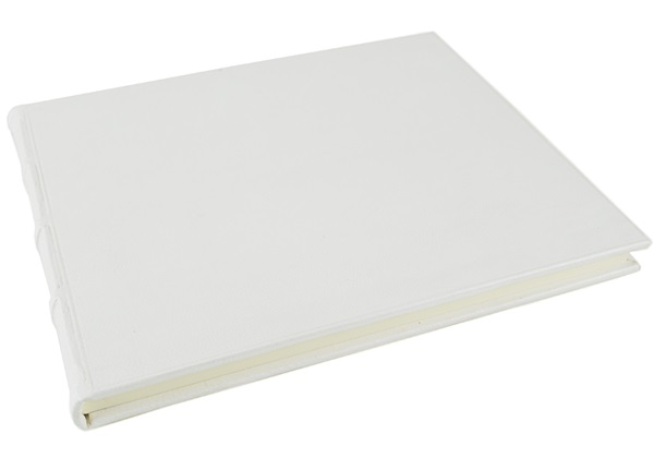 Picture of Chianti Handmade Italian Leather Bound Extra Large Guest Book Antique White