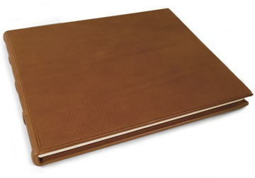 Picture of Chianti Handmade Italian Leather Bound Extra Large Guest Book Saddle Brown