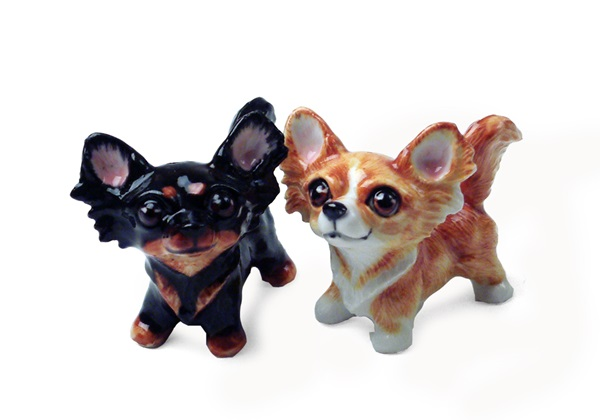 Picture of Chihuahua Long-haired Handmade Mini Cruet Set Fawn and Black