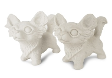 Picture of Chihuahua Long-haired Handmade Unpainted Ceramics Mini Unpainted Cruet Set Unglazed