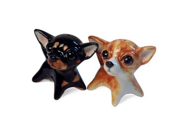 Picture of Chihuahua Handmade Mini Cruet Set Fawn and Black