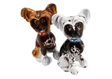 Picture of Chinese Crested Handmade Mini Cruet Set Brown and Black