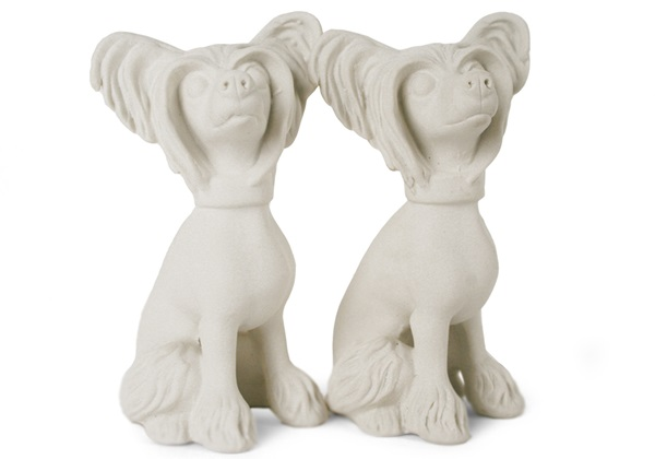 Picture of Chinese Crested Handmade Unpainted Ceramics Mini Unpainted Cruet Set Unglazed