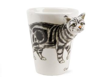 Picture of Classic Tabby Handmade 8oz Coffee Mug Grey Marbled