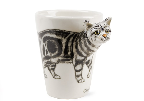 Picture of Classic Tabby Handmade 8oz Coffee Mug Grey Marbled