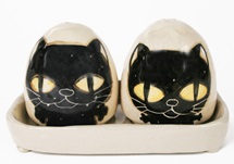 Picture of Coraline Handmade Ceramic Small Cruet Set Black