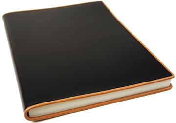Picture of Cortona Handmade Italian Leather Bound A4 Journal Black Plain