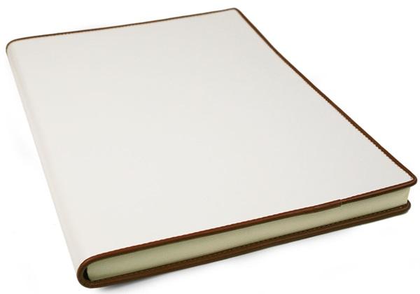 Picture of Cortona Handmade Italian Leather Bound A4 Journal White Plain