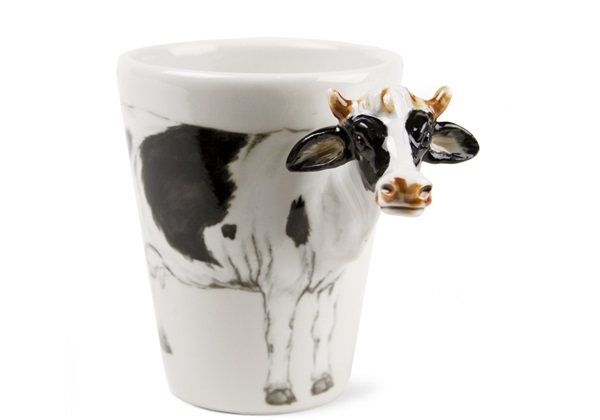 Picture of Cow Handmade 8oz Coffee Mug White and Black
