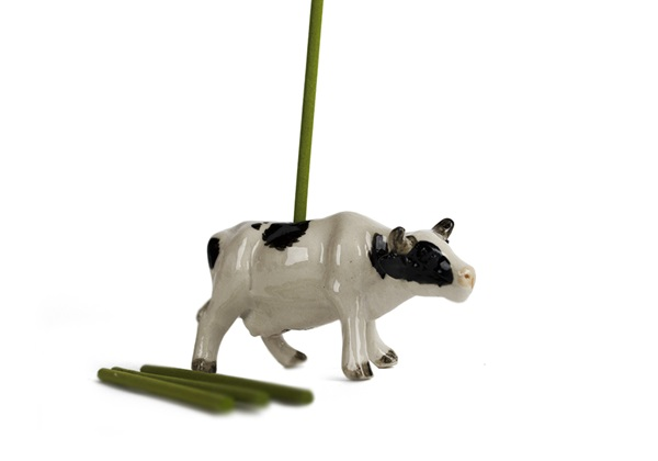 Picture of Cow Handmade Mini Figurine Incense Burner White and Black