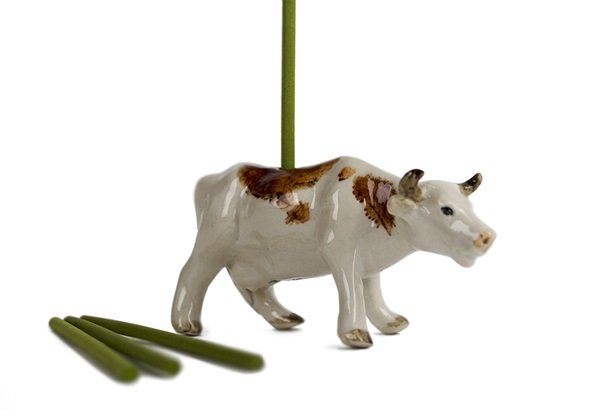 Picture of Cow Handmade Mini Figurine Incense Burner White and Brown