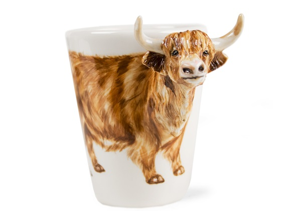Picture of Cow Scottish Highland Handmade 8oz Coffee Mug Brown