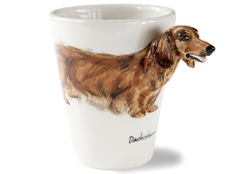 Picture of Dachshund Long Haired Handmade 8oz Coffee Mug Cream