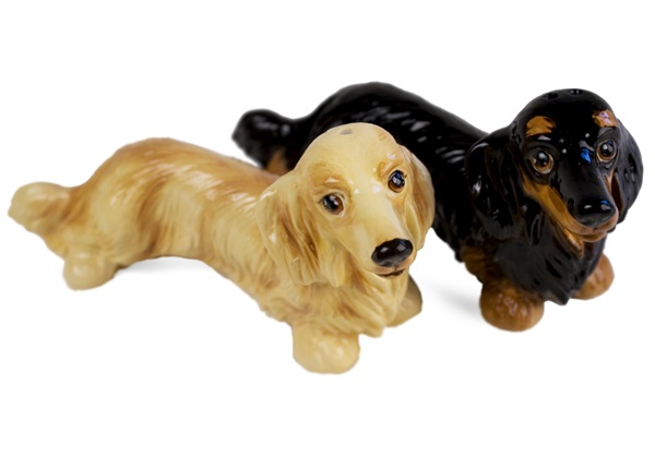 Picture of Dachshund Long Haired Handmade Mini Cruet Set Cream And Black
