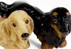 Picture of Dachshund Long Haired Handmade Mini Cruet Set Cream And Black