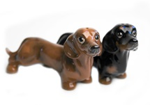 Picture of Dachshund Handmade Mini Cruet Set Tan And Black