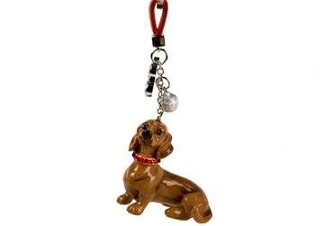 Picture of Dachshund Handmade Mini Key Ring Tan