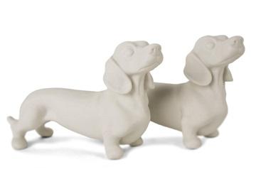 Picture of Dachshund Handmade Upaint Ceramic Mini Unpainted Cruet Set Unglazed