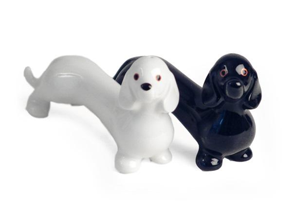 Picture of Dachshund Handmade Ceramic Small Cruet Set Black And White