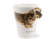 Picture of Dachshund Wire Haired Handmade 8oz Coffee Mug Silver and Grey