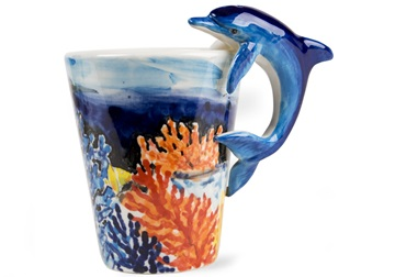 Picture of Dolphin Handmade 8oz Coffee Mug Blue