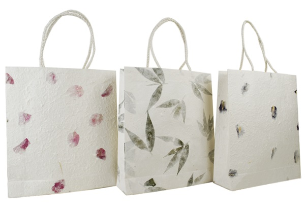 Picture of Eco Handmade Medium Gift Bags Bougainvillea, Iris and leaves
