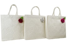 Picture of Eco Handmade Musical Rose Medium Gift Bags Vintage White