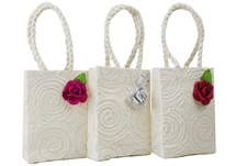 Picture of Eco Handmade Musical Rose Small Gift Bags Vintage White