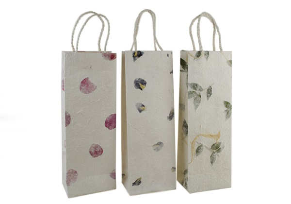 Picture of Eco Handmade Wine Carrier Gift Bags Bougainvillea, Iris and leaves