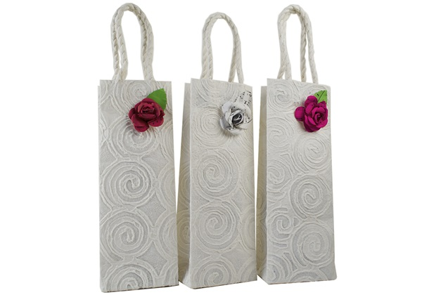 Picture of Eco Handmade Musical Rose Wine Carrier Gift Bags Vintage White