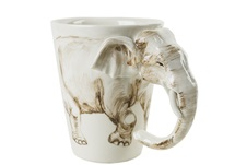 Picture of Elephant 8oz White Handmade Coffee Mug