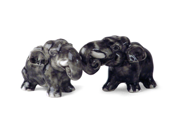 Picture of Elephant Handmade Mini Cruet Set Gray