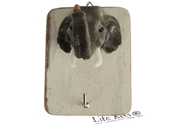 Picture of Elephant Handmade Rustic Single Wall Hook Grey