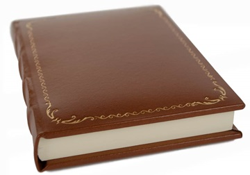 Picture of Empire Handmade Italian Recycled Leather Hardbound A6 Journal Chestnut Gold Plain