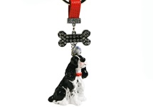 Picture of English Springer Spaniel Handmade Mini Key Ring Black And White