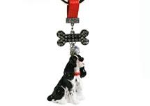 Picture of English Springer Spaniel Handmade Mini Key Ring Black and White