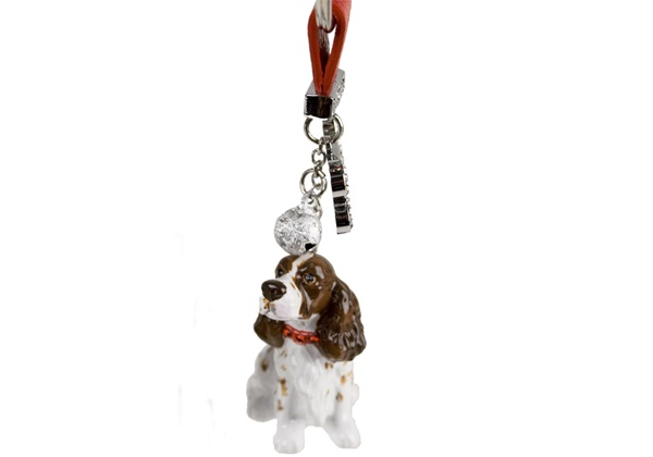 Picture of English Springer Spaniel Handmade Mini Key Ring Liver And White