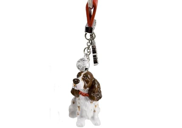 Picture of English Springer Spaniel Handmade Mini Key Ring Liver And White