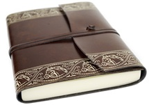 Picture of Equine Handmade Recycled Leather Wrap A5 Journal Chestnut Plain