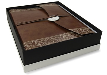 Picture of Equine Handmade Recycled Leather Wrap Large Photo Album Chestnut
