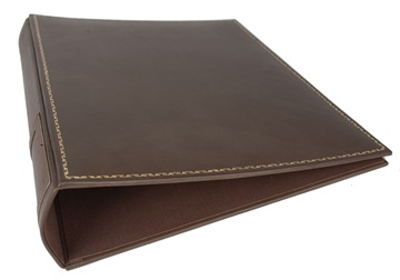 Picture of Esecutivo Handmade Lever arch files Large Ring Binder Leather Chestnut Gold